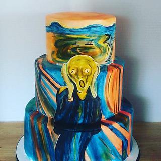 The Scream by Edvard Munch inspired Cake