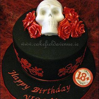Skull and Roses Gothic Cake