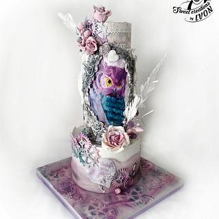 OWL cake (vintage&steampunk)