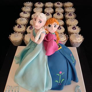 Frozen duo cake and cupcakes - Cake by Julie Anne White