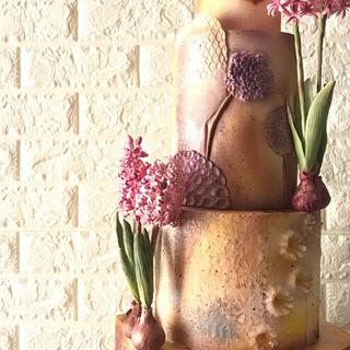 Mixed Media Cake with Sugar Hyacinth