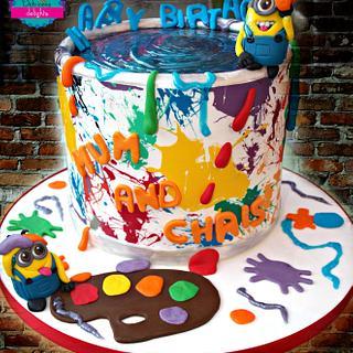 Minion paint fight cake