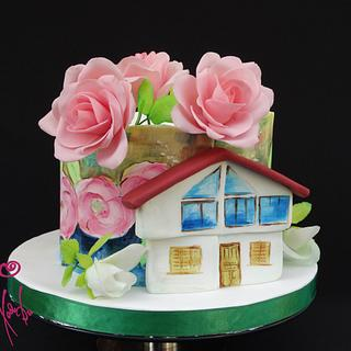 Home and roses - hand painted cake