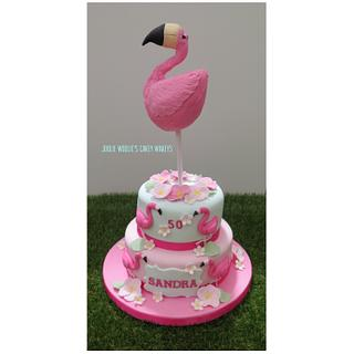 Flamingo cake and topper - Cake by Julie White