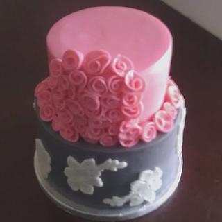 Pink & Gray Floral Cake