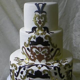 Damask scroll wedding cake