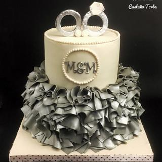 Ivory and silver engagement cake