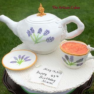 Lavender teapot set cake - Cake by Jocelyn Ryan