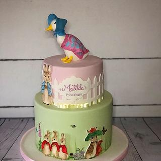 Beatrix Potter 1st birthday cake