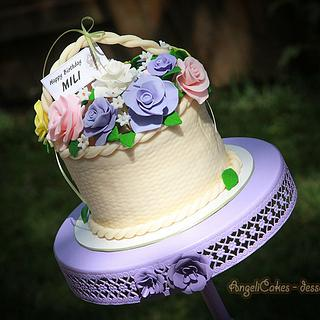 Basket Flowers Cake - Cake by Angelica Galindo