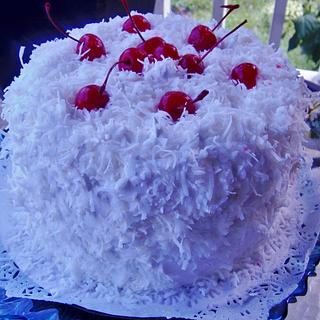 Fresh coconut cake with pineapple filling