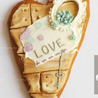 Rustic heart - oval frame