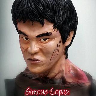 Testa di Bruce Lee in cioccolato plastico