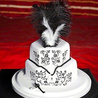 Gothic Black Rose Wedding Cake