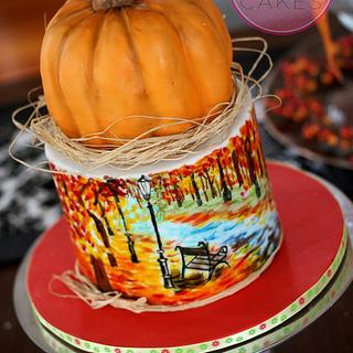 Pumpkin & Hand Painted Fall Scene Cake
