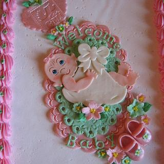 Gingham Frills Baby Shower Cake