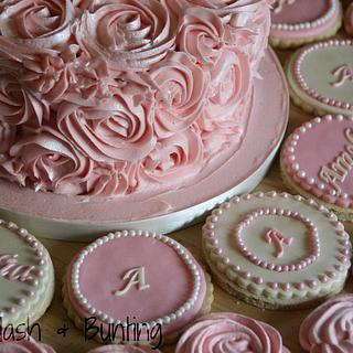 Pink dessert table selection