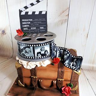 Vintage Suitcase & Fim Reel Birthday Cake - Cake by Storyteller Cakes