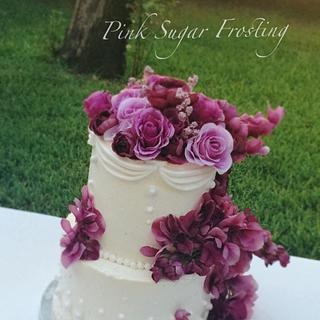 Floral Wedding Cake  - Cake by pink sugar frosting