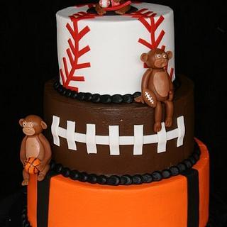 Sports themed Monkey cake