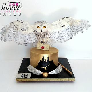 Harry Potter themed cake : gravity defying landing Hedwige owl