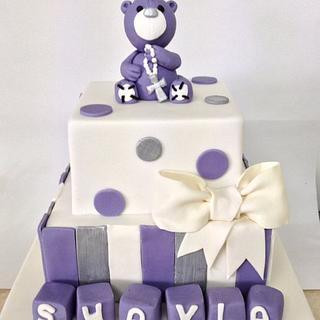 Purple teddy christening cake