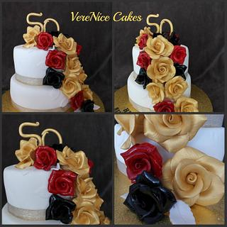 Red, Black and Gold Cake