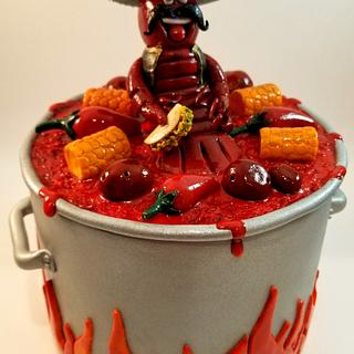 Mexican themed crawfish boil pot cake topper & plaque