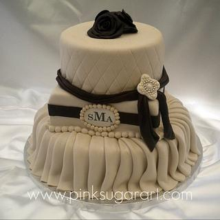 Ivory & Brown Wedding Cake