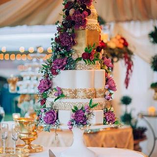 Art Deco Sugar Flower Wedding Cake