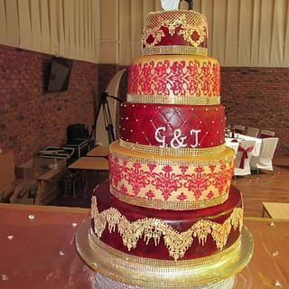 Maroon Red and Gold Wedding Cake