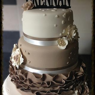 Three tier frilled wedding cake