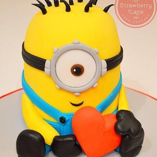Despicable Me Love Heart Minion Cake - Cake by Strawberry Lane Cake Company