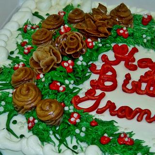 Pine cone, Acorn, greenery buttercream cake