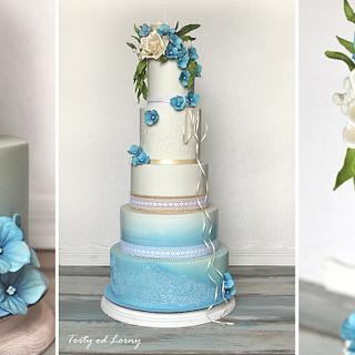 Blue hydrangea.. - Cake by Lorna
