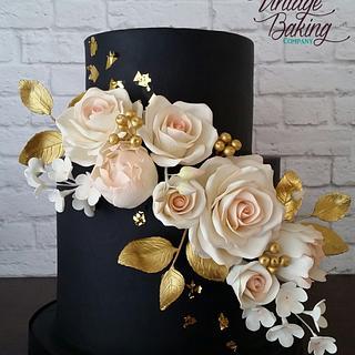 Black, Blush and Gold Floral Wedding Cake