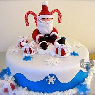 Santa and gifts cake