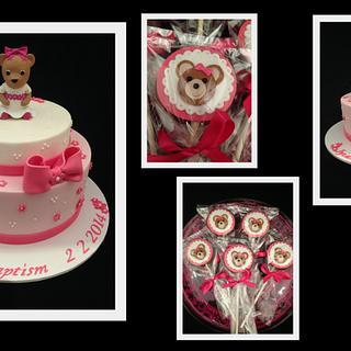 Teddy Bear Christening Cake & Cookies - Cake by Wendy - Saraphia Kakes