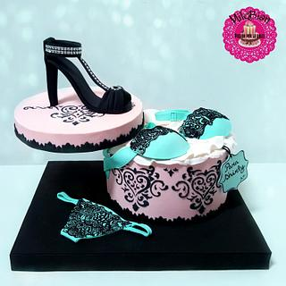 Sexy lingerie and shoe cake