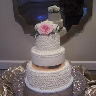 Buttercream Ruffles and Gold Ribbon - Cake by BettyA