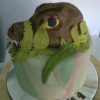 T Rex birthday cake - Cake by Combe Cakes