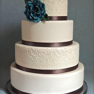 Alternating Lace and Satin Ribbon Wedding Cake