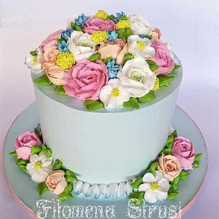 Whipping flower cake