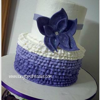 2 Tier Purple Ombre Ruffle Cake