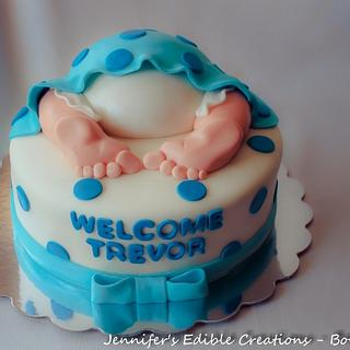 Baby Bottom Baby Shower Cake - Cake by Jennifer's Edible Creations