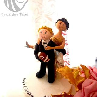 Happy Bride & Groom Topper - Cake by Bumblebee Bakes Goa