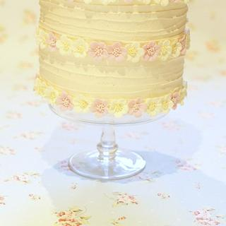 White chocolate buttercream blossom cake