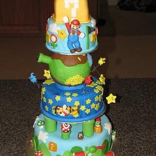 super mario , mario galaxy cake - Cake by Deborah