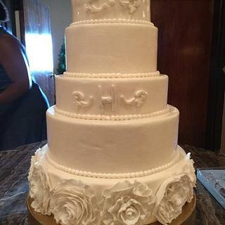 White Ruffled Wedding Cake - Cake by givethemcake