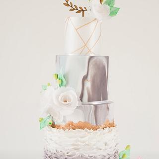 Marble Rose Gold Wafer Peony Wedding Cake